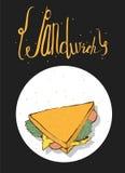 垂直的手拉的在上面的例证用鲜美三明治和字法 黑背景,白色圈子,为咖啡馆或酒吧完善 免版税库存照片