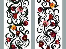 垂直的无缝的花卉边界 库存图片