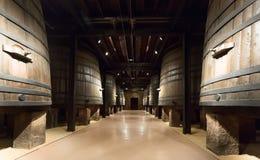 垂直的木桶在酿酒厂 库存照片