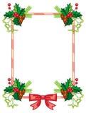 垂直的框架用霍莉莓果,杉木锥体,鞠躬 免版税库存照片
