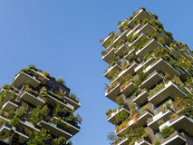 垂直的森林塔在米兰意大利 库存照片