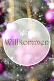 垂直的蔷薇石英球, Willkommen手段欢迎 库存图片