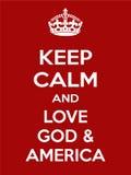 垂直的长方形红白的刺激爱上帝和美国海报 免版税库存照片