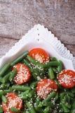 垂直的青豆沙拉。顶视图 图库摄影