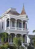 垂直: 有历史的维多利亚女王时代的之家在Gaveston,得克萨斯 免版税库存照片