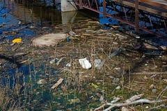 垃圾和垃圾在水中 免版税库存照片