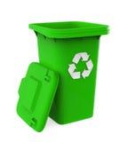 垃圾垃圾桶与回收标志 免版税库存图片
