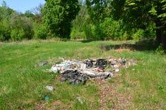 垃圾堆在森林 库存图片