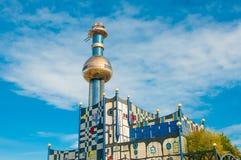 垃圾处理植物塔在维也纳,奥地利 免版税库存照片