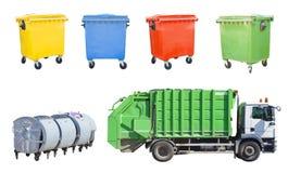 垃圾车与回收站集合 免版税库存图片