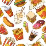 垃圾食物无缝的模式 免版税库存照片