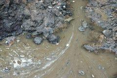 垄沟用肮脏的水 免版税库存照片