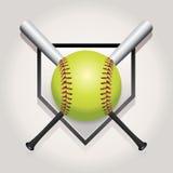 垒球、棒和Homeplate象征例证 免版税库存图片