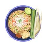 垫泰国或传统混乱油煎的面条用虾 库存例证