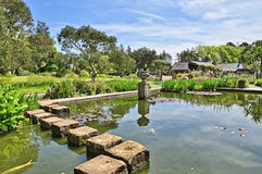 垫脚石在摇石植物园里 免版税库存图片