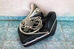 垫铁是仪器的类型在黄铜吹风机的种类的 免版税库存照片