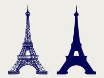 埃佛尔铁塔剪影和速写的象 库存例证