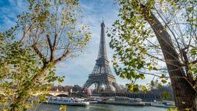 埃佛尔铁塔和河塞纳河在巴黎,法国 库存照片