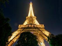 埃佛尔铁塔在晚上在巴黎 库存图片