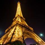 埃佛尔铁塔在晚上在巴黎 免版税库存照片