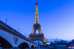 埃佛尔铁塔在晚上,巴黎,法国 免版税库存照片