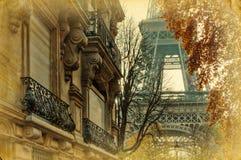 埃佛尔铁塔的葡萄酒照片 免版税库存照片