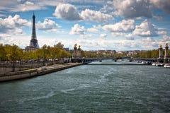 埃佛尔铁塔,塞纳河在Alexandre III桥梁下 库存照片