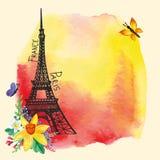 埃佛尔铁塔,水彩污点,水仙花束 免版税库存照片
