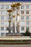 埃利斯塔,俄罗斯 以Republi的全国呼拉尔议会的大厦的为背景莲喷泉 免版税库存照片