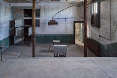 埃利斯岛的太平间放弃了精神病院内部房间 免版税库存图片