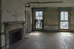 埃利斯岛被放弃的精神病院内部房间 免版税图库摄影