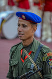 埃及人共和国卫队的战士在开罗体育场-埃及内 库存照片