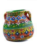 埃及人被手工造装饰了在白色bac的艺术性的瓷罐 免版税库存照片