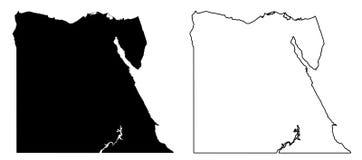 埃及传染媒介图画仅简单的锋利的角落地图  Mercato 向量例证