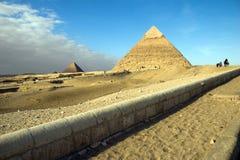 埃及吉萨棉金字塔视图 图库摄影