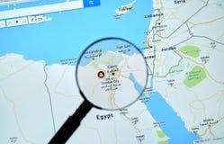 埃及和开罗Google Maps的 免版税图库摄影