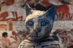 埃及妈咪猫被找到的里面坟茔 免版税库存图片