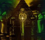埃及寺庙 埃及金字塔和由她的边的戴头巾图困扰的数字式艺术幻想场面与女教士的 免版税库存图片