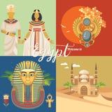 埃及广告传染媒介集合 现代样式 欢迎光临埃及 在平的设计的埃及传统象 假日横幅 免版税库存照片