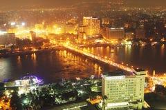 埃及开罗夜鸟瞰图  免版税图库摄影