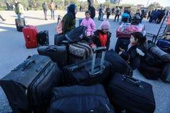埃及当局今天再开在加沙和埃及之间的单一乘客横穿两个方向的 免版税库存图片