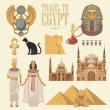 埃及惊人的广告传染媒介集合 在平的设计的埃及传统象 假日横幅 假期和夏天 免版税库存图片