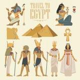 埃及旅行传染媒介集合 在平的设计的埃及传统象 假日横幅 假期和夏天 免版税库存照片