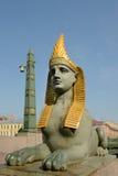 埃及桥梁狮身人面象在Fontanka河的 免版税库存图片