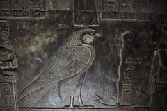 埃及猎鹰上帝Horus浅浮雕  图库摄影