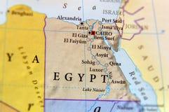 埃及的地理地图有重要城市的 免版税库存照片