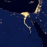 埃及的城市光,这个图象的元素由美国航空航天局装备 库存图片