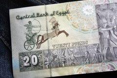20埃及磅钞票大前车架 默罕默德阿里清真寺在开罗,在第一个法老王后Sesotris的绘画, 库存照片