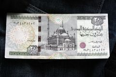 20埃及磅钞票大前车架 默罕默德阿里清真寺在开罗,在第一个法老王的绘画后 免版税库存图片