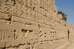 埃及象形文字卢克索墙壁 免版税库存图片